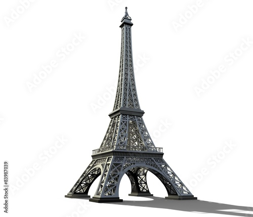 Eiffel tower isolated on a white background. Wall mural