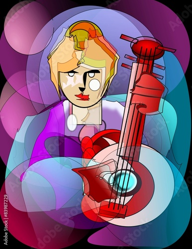 Fotografie, Obraz  Donna e strumento musicale