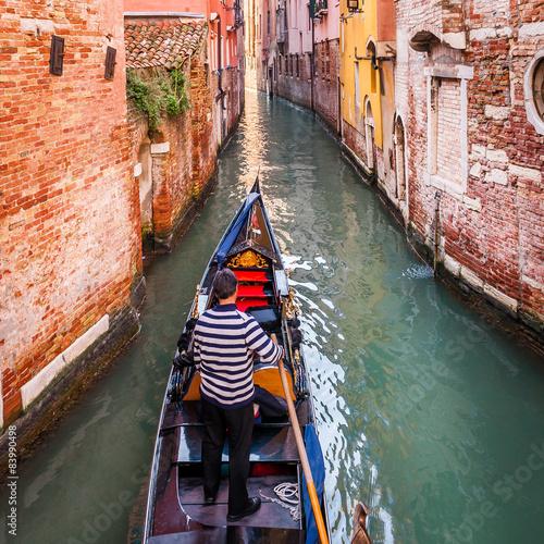 Carta da parati Gondolier à Venise, Italie