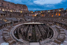 Internal View Of The Coliseum At Night In Rome, Italy.