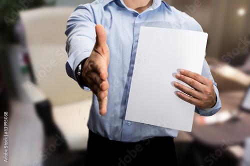 stretta di mano per lavorare in un ufficio Canvas Print
