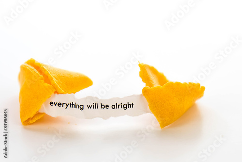 Fotografie, Obraz  open fortune cookie - EVERYTHING WILL BE ALRIGHT