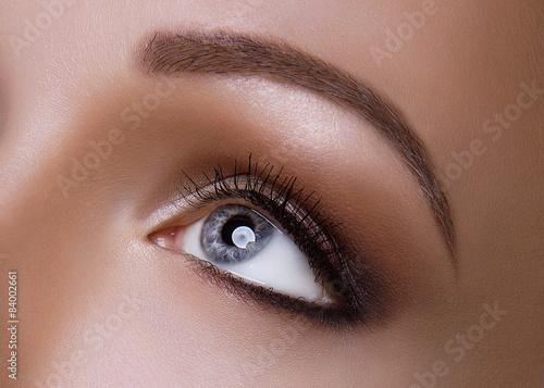 Fotografering  Macro Shot of Young European Woman's Beautiful Grey Eye