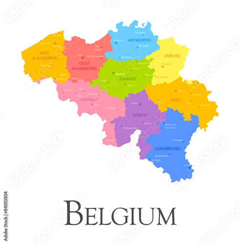 Canvas Print Belgium regional map