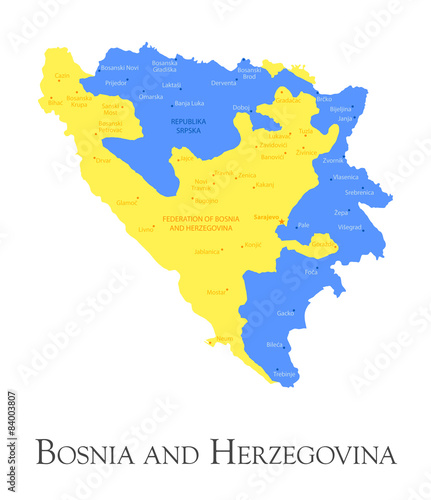 Bosnia and Herzegovina regional map Wallpaper Mural