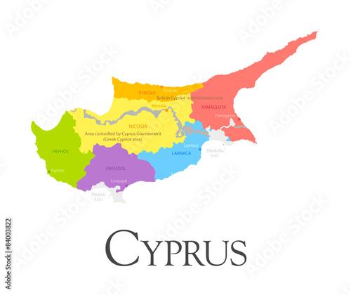 Fotografie, Obraz Cyprus regional map