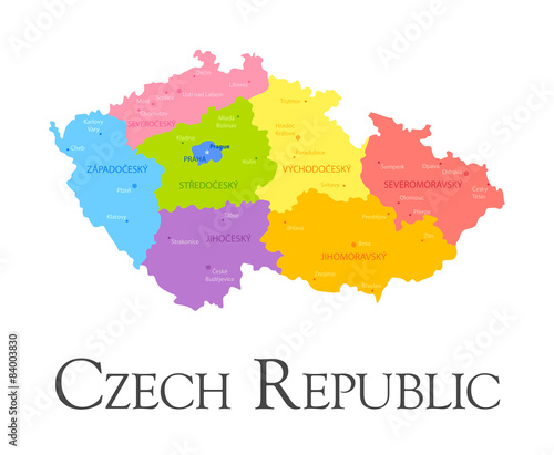 Czech Republic regional map Tablou Canvas