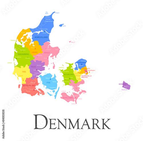 Denmark regional map Wallpaper Mural