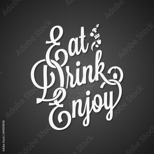Valokuva  food and drink vintage lettering background 10 EPS