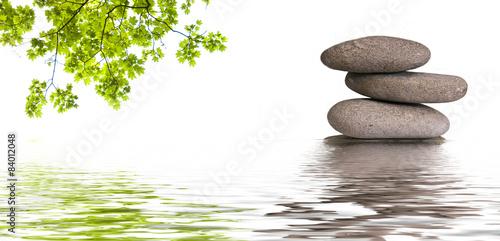bannière zen, galets et feuilles d'érable Poster