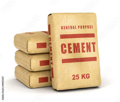 Photo  Cement bags pile