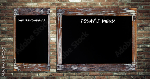 Fotografía Today's menu and Chef recommends on chalk board  background