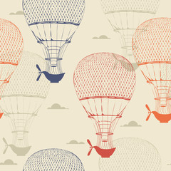 FototapetaRetro seamless travel pattern of balloons