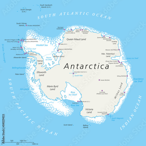 Fotografia  Antarctica Political Map