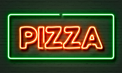 Obraz na Szkle Do pizzerii Pizza neon sign