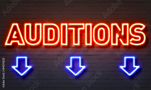 Auditions neon sign Canvas Print