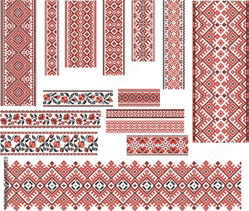 Set of Patterns for Embroidery Stitch. Red and Black Fototapeta
