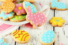 Colorful Easter Cookies On Whi...