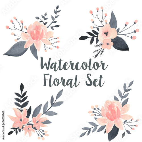 Set Of Black Flower Design Elements From My Big Floral: Watercolor Floral Vector Set With Flowers And Branch