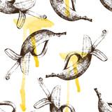 Hand drawn bananas seamless - 84046018