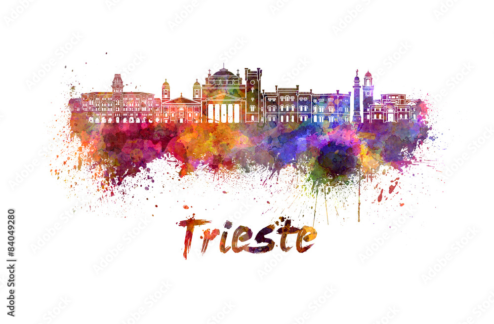 Photo & Art Print Trieste skyline in watercolor | EuroPosters