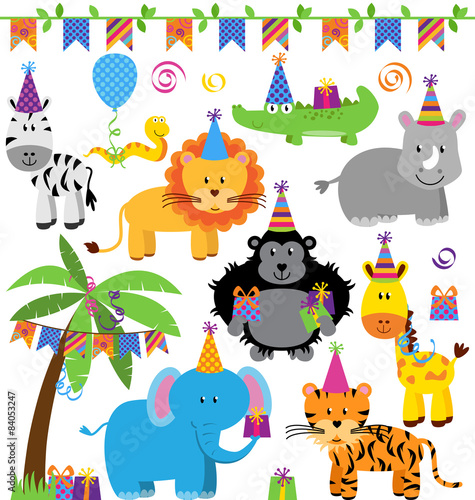 Vector Collection of Birthday Party Animals Poster
