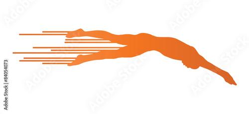 Fotografía Athlete man swimmer jumping vector background concept