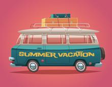 Camper Van. Summer Vacation. Vector Illustration.