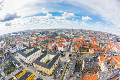 Aerial view of Copenhagen on a cloudy day Canvas Print