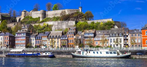Panoramic view medieval citadel in Namur, Belgium from the river
