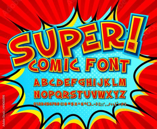 Fotografia Creative comic font. Vector alphabet in style pop art