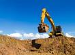 canvas print picture - Backhoe digging