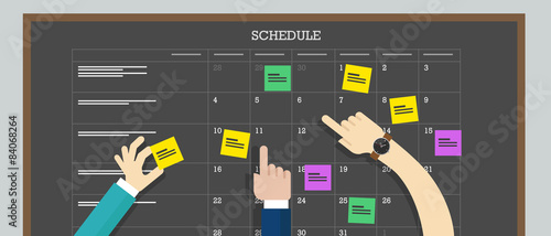 Fotomural calendar schedule board with hand plan