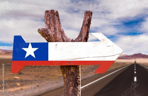 Poster Algerije Chile Flag wooden sign with Valle de la Luna background