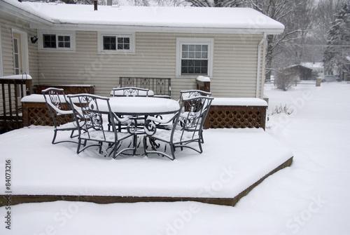 Foto op Canvas Drawn Street cafe Backyard Deck in Winter