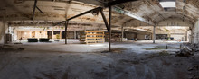 Panorama Of Empty Disused Derelict Warehouse