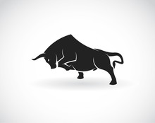 Vector Image Of An Bull On A W...