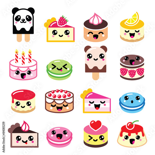Photo  Cute Kawaii dessert - cake, macaroon, ice-cream icons
