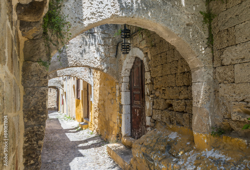 Medieval castle walls on Rhodes, Greece