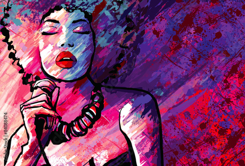 Stampa su Tela Jazz singer with microphone on grunge background