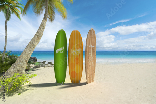 Poster Strand Surf boards on the beach