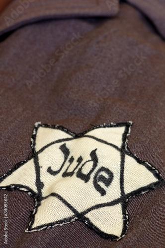yellow star of David on his coat Canvas Print