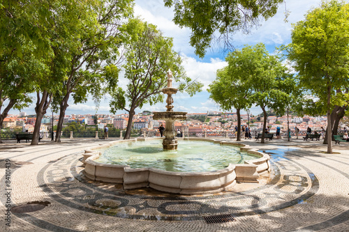 Sao Pedro de Alcantara viewpoint fountain  - Miradouro in Portug Canvas Print