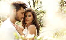 Summer Photo Of Beautiful Young Couple In The Garden