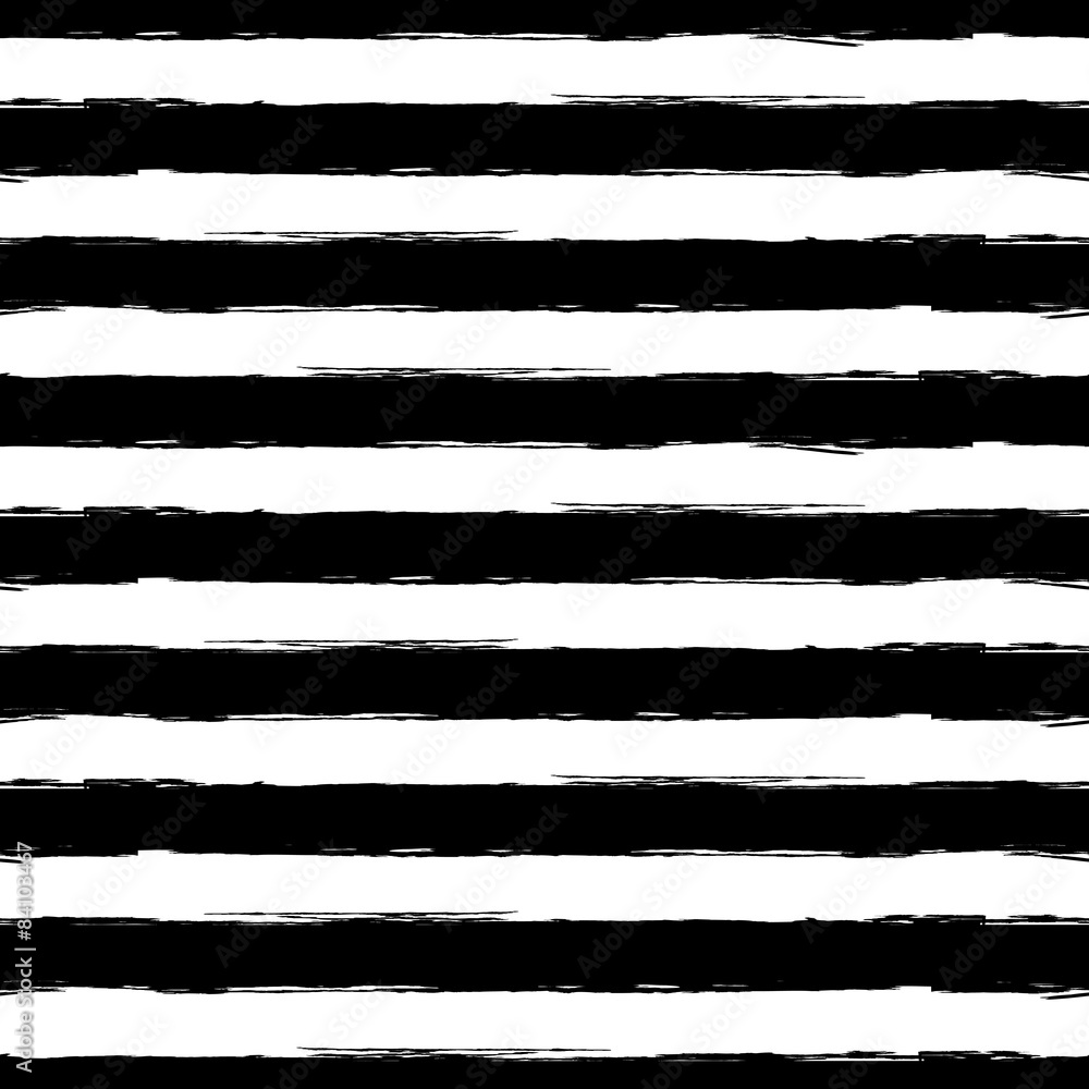 Fototapeta Vector watercolor stripe grunge seamless pattern. Abstract black