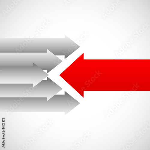 Fototapeta Arrows in opposite directions against each other. Opposition, re