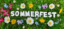 Sommerfest Text Auf Blumen Wiese