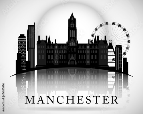 Photo Modern Manchester City Skyline Design. England