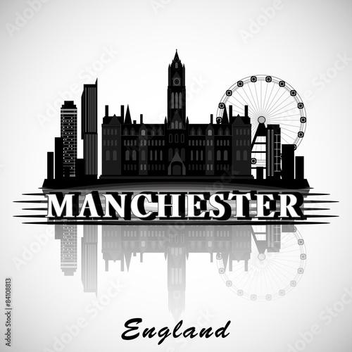 Modern Manchester City Skyline Design. England
