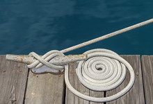 Coiled White Cloth Boat Rope T...